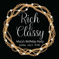 Modello di invito a una festa Cornice rotonda realizzata con catene dorate ritorte. Con perle Sul nero Illustrazione vettoriale
