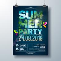 Summer Party Flyer Design con palme e oceano paesaggio nel taglio tipografia lettera. Vector gli elementi floreali della natura dell'estate e le piante tropicali sul fondo blu del cielo nuvoloso