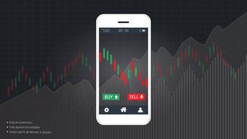 Concetto di trading azionario mobile con candlestick e grafici grafici finanziari sullo schermo. vettore