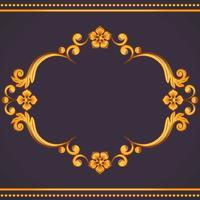 Cornice ornamentale vintage. Illustrazione vettoriale nei colori giallo e viola