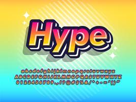 Raffreddare pop carattere tipografia giovanile 3d effetto vettore