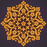 Bellissimo elemento ornamentale rotondo per il design nei colori giallo arancio. vettore