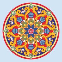 Mandala ornamentale tondo etnico colorato. Illustrazione vettoriale