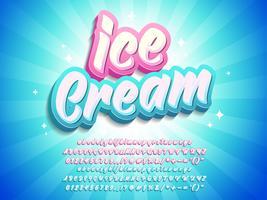 Effetto testo Ice Cream Pop 3d vettore