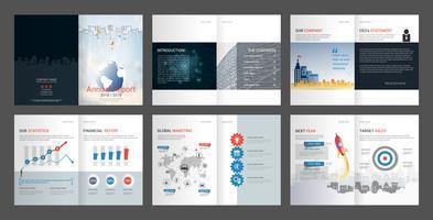 Rapporto annuale per il profilo aziendale e la brochure dell'agenzia pubblicitaria. vettore
