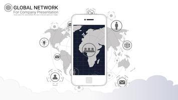 Schermo del telefono intelligente con sfondo di connessione di rete globale.