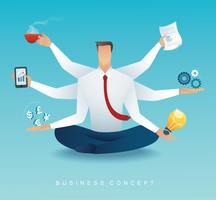 uomini d'affari personaggio multitasking lavoro duro da sei braccia. concetto di lavorare sodo