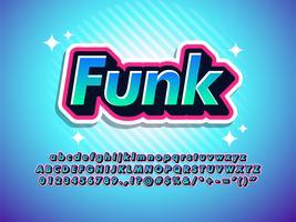 carattere di autoadesivo funk effetto cool carattere moderno vettore