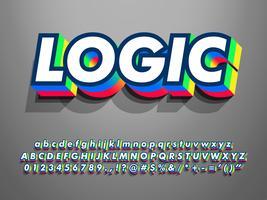 3d Extrude Font Effect con doppio colore vettore