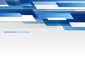 Intestazione astratta blu e forme geometriche lucide bianche che si sovrappongono allo stile futuristico di tecnologia commovente
