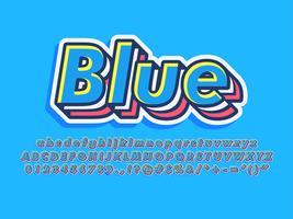 Carattere tipografico a strati blu freddo vettore