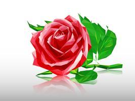 Rosa rossa poligonale vettore