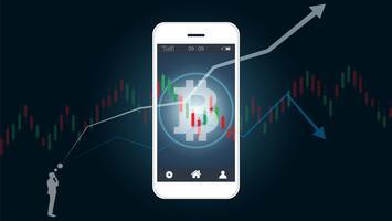 Concetto di trading azionario mobile con bitcoin e grafici grafici a candele sullo schermo.