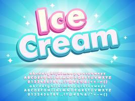 Testo del carattere del gelato per progettazione di logo vettore