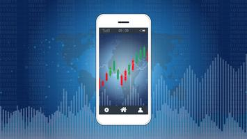 Concetto di trading azionario mobile con candlestick e grafici grafici finanziari sullo schermo.