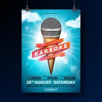 Progettazione dell'aletta di filatoio del partito di karaoke di estate con il microfono ed il nastro sul fondo blu del cielo nuvoloso. Modello di disegno vettoriale estiva