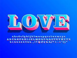 Alfabeto di amore 3d con ombra vettore