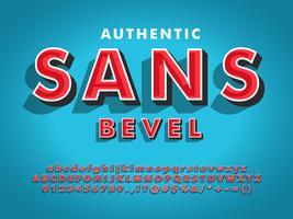 Moderno carattere Sans Serif con 3d smussato vettore