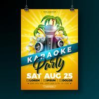 Estate Karaoke Party Flyer Design con fiore, microfono, altoparlante e palme su sfondo giallo sole. Modello di disegno vettoriale estiva