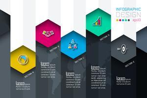 Le etichette della rete di esagono di affari modellano infographic con fondo scuro.