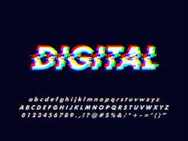 Alfabeto di glitch Rgb Screen con effetto errore vettore