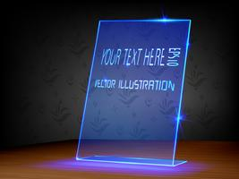 Etichetta trasparente, etichetta luminosa con design in vetro e acrilico su sfondo scuro