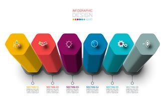 Progettazione di etichette di infografica vettoriale con design di colonne esagonali.