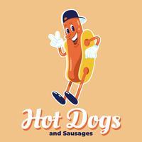 Illustrazione divertente dei caratteri di progettazione di logo di hot dog vettore