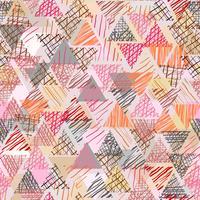 Doodle di colore a forma di triangolo con sfondo senza soluzione di continuità.