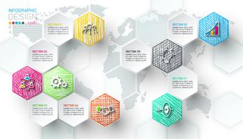 Le etichette della rete di esagono di affari modellano la barra infographic. vettore