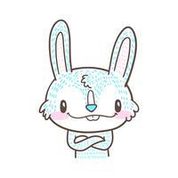 carino piccolo coniglio e coniglio cartoon doodle vettoriale