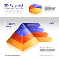 Elementi di piramide 3D infografica vettore