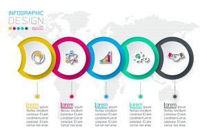 Etichetta cerchio infografica con 5 passaggi.