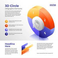 Elementi di infografica parti cerchio 3D vettore