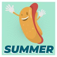 Illustrazione piana di vettore dell'alimento di estate del carattere dell'hot dog