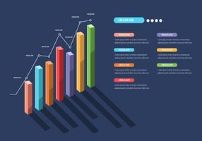 Elementi di infografica 3D in sfondo blu scuro