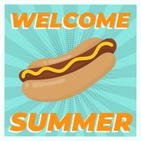 Illustrazione d'annata piana di vettore dell'alimento dell'hot dog dell'hot dog