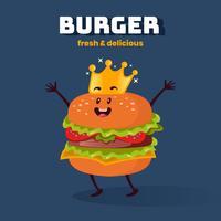 Illustrazione sveglia dei caratteri di Kawaii dell'hamburger del fumetto di re