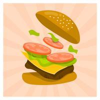 Illustrazione piana di vettore dell'alimento di estate della spruzzata dell'hamburger
