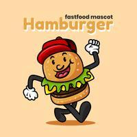 Retro illustrazione di vettore del carattere dell'hamburger del fumetto
