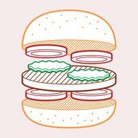 Illustrazione dell'alimento di estate del pane tostato dell'hamburger vettore