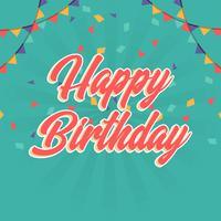 Illustrazione piana di vettore di tipografia dell'iscrizione di saluti di buon compleanno