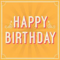 Retro illustrazione di vettore di tipografia di saluto di buon compleanno piano
