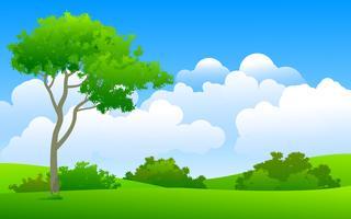 prato e albero vettore