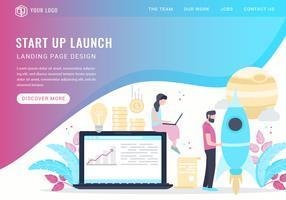 Vector Start Up Landing Page di lancio