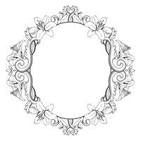 Cornice ornamentale vintage con gigli. Illustrazione vettoriale in colori bianco e nero
