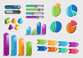 Insieme variopinto di vettore dell'elemento di Infographic 3D