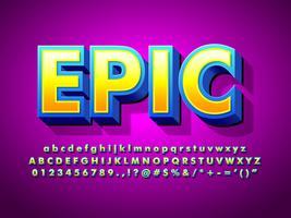 Epic Cartoon 3D Game Logo Font vettore