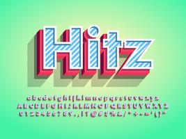 Moderno 3d Hitz Font con motivo a strisce vettore