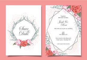 Carte di invito di matrimonio floreale con rose, foglie selvatiche, cornice geometrica e effetto scintilla vettore